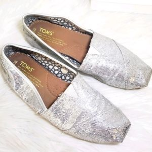 ❤ 4 for $25 ❤ Toms Silver Glitter 6 Loafers Shoes